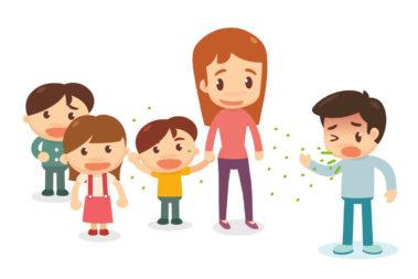 Illustration einer Kita-Gruppe, in der ein Kind hustet und dabei seine Viren verteilt.