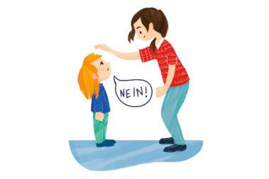 """Illustration eines Kindes, das deutlich """"Nein!"""" zu seiner Erzieherin sagt."""