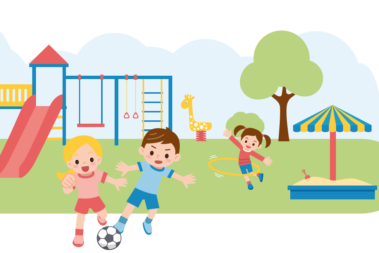 Illustration mit spielenden Kindern auf einem Spielplatz.