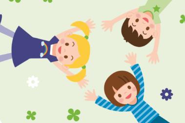 Illustration von drei Kindern, die auf einer Wiese liegen.