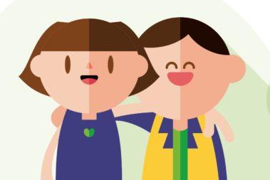 Illustration von zwei Kindern, die sich umarmen.