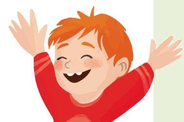 Illustration eines Jungen, der sich freut.