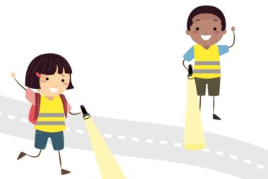 Illustration zweier Kinder mit Taschenlampen.