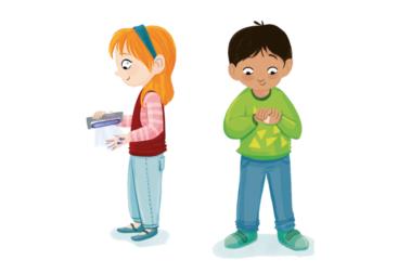 Illustration zeigt zwei Kinder bei der Desinfektion der Hände.