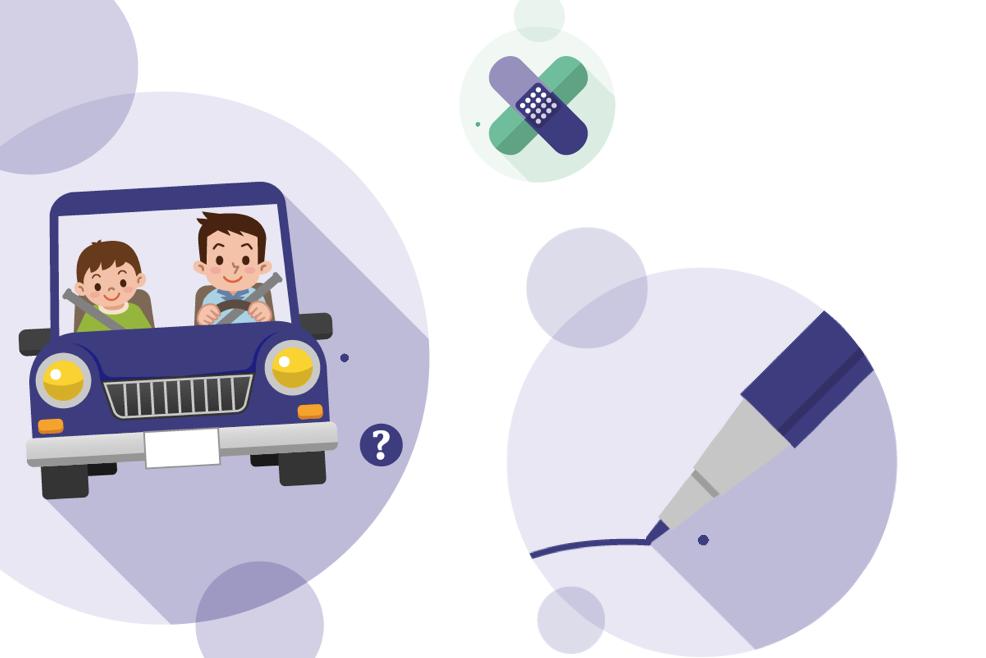 Illustration zeigt einen Vater und seinen Sohn im Auto.