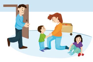 Illustration zeigt einen kleinen Jungen, der weint, weil sein Vater ihn gerade in der Kita abgegeben hat.