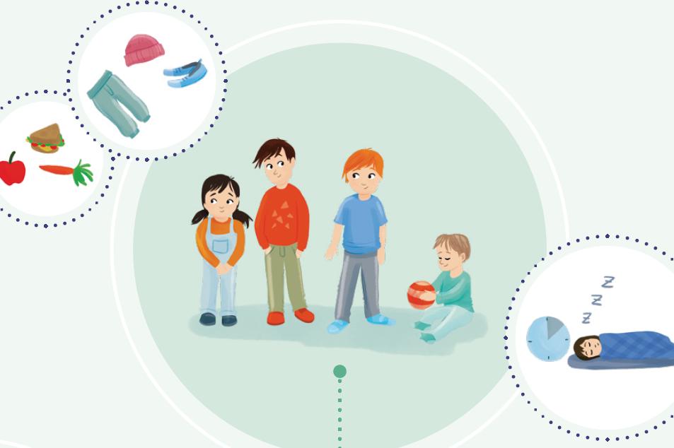 Illustration zeigt drei stehende und ein sitzendes Kind. Das sitzende Kind hält einen Ball.