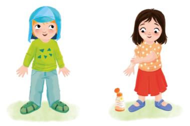 """Illustration """"Sonnenschutz - wir passen auf"""" zeigt, wie man empfindliche Kinderhaut am besten vor der Sonne schützt. Zum einen ist Sonnenschutz durch richtige Kleidung wirksam und einfach. Sonnengerechte Kleidung bedeckt möglichst viel vom Körper. Beispiele: Kappe oder Tuch mit Schirm und Nackenschutz, langarmiges Shirt oder T-Shirt, eng gewebte und weit geschnittene Stoffe, möglichst lange Hosen oder Röcke und Schuhe, die den Fuß weitgehend bedecken. Zusätzlichen Schutz bietet die Anwendung von Sonnencreme, Alle unbedeckten Stellen sollten mit Sonnenschutzmittel eingecremt werden. Die Eltern cremen die Kinder vor und nach der Kita ein. In der Kita wird nur noch nachgecremt. Hierbei gilt: Viel hilft viel - Sonnencreme ruhig dick und gleichmäßig auftragen. Am besten einen hohen Lichtschutzfaktor wählen (LSF 50) und eine wasserfeste Creme ohne Duft- und Konservierungsstoffe. Stirn, Ohren, Nase, Lippen, Kinn, Schultern und Fußrücken sind """"Sonnenterrassen"""", diese besonders gründlich eincremen."""