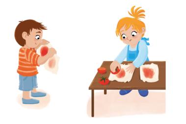 """Illustration """"Die Sonne bleicht aus"""" zeigt ein Experiment zum Bleichen von Gemüsesaft in der Sonne, um Kindern anschaulich zu zeigen, wie viel Kraft direktes Sonnenlicht hat. Hierzu wird mit angeschnittenem Gemüse, dessen Saft austritt auf zwei Stück weißem Papier oder Stoff etwas gemalt. Dann wird eines der Papiere oder der Stoffe in die pralle Sonne gelegt. Das andere Stück wird an eine schattige Stelle im Raum gelegt. Nach einigen Tagen wird verglichen. Zu Beginn sind die Farben auf allen Blättern oder Stoffen gleich intensiv. Bereits nach ein bis zwei Stunden wird aber ein Unterschied erkennbar. Die Farben auf den sonnenbeschienen Blättern oder Stoffen werden heller. Nach einigen Stunden sind einige fast nicht mehr zu sehen oder sogar ganz verschwunden."""