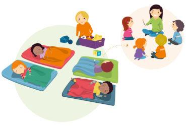 """Illustration zum Thema """"Ruhige Zeiten"""" zeigt den Schlafraum einer Kita mit vier schlafenden Kindern und einer Betreuerin."""