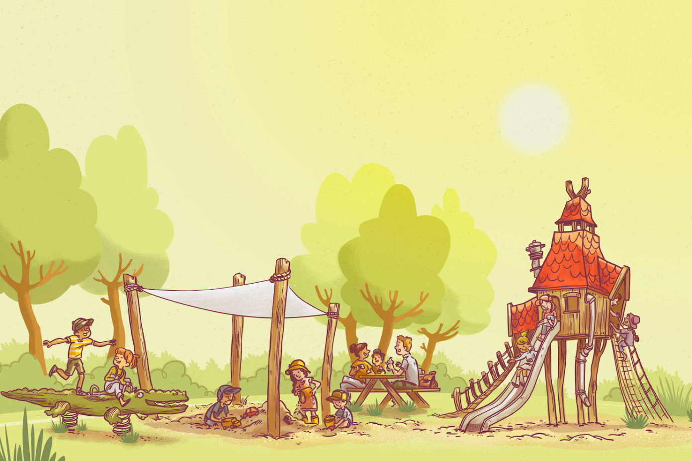 Illustration zeigt einen Spielplatz in der prallen Mittagssonne.