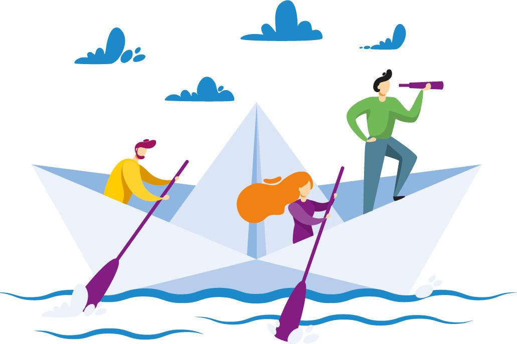 """Illustration zum Thema """"Die Eltern ins Boot holen"""" zeigt drei Erwachsene in einem Boot."""
