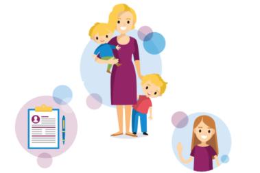 Illustration zeigt eine Mutter mit zwei Kindern, eine weitere Illustration zeigt eine Schülerpraktikantin.
