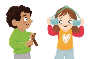 Illlustration zeigt ein Mädchen mit einem Dosentelefon und einen Jungen mit zwei Holzstöcken.
