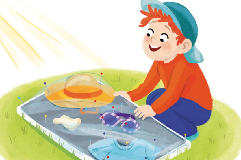 Illustration eines Jungen, der ein Experiment zum Thema Sonnenschutz durchführt. Hierzu werden verschiedene Materialien auf Solar-Fotopapier für mehrere Minuten direkt in der Sonne platziert. Nach dem Ende der Bestrahlung, wenn man die Materialien von der Folie entfernt, zeigen weiße Stellen einen guten Sonnenschutz, hell- oder dunkelblaue Stellen entlarven hingegen durchgelassene UV-Strahlung. So können Kinder sehen, was für eine große Kraft Sonnenlicht hat.