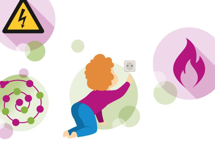 Illustration zeigt kleine Bildchen zum Thema Unfälle mit Strom, unter anderem ein Kind, das versucht, in eine Steckdose zu greifen.