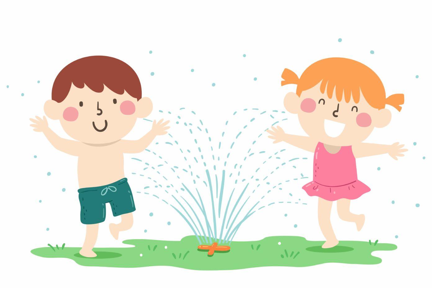 Illustration von zwei Kindern, die unter dem Wasserstrahl eines Rasensprinklers herum hüpfen.
