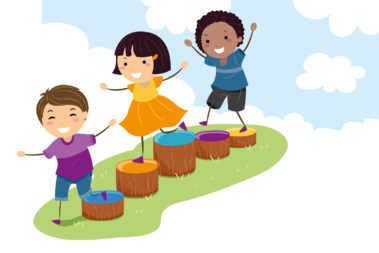 Illustration von drei Kindern, die über Baumstümpfe klettern.