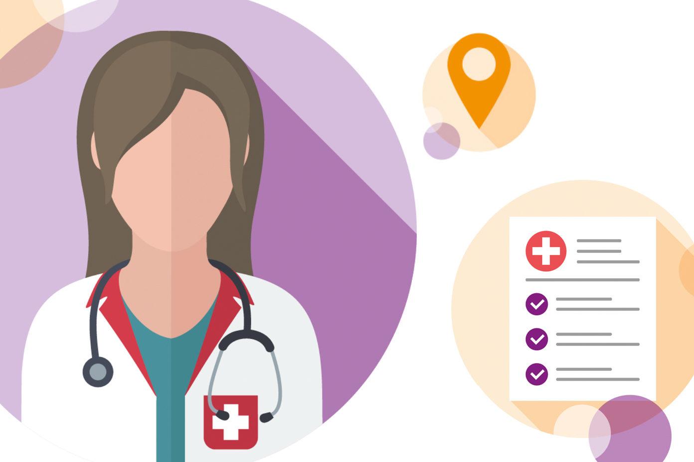 Illustration zeigt eine Ärztin mit Stethoskop und ein medizinisches Dokument.