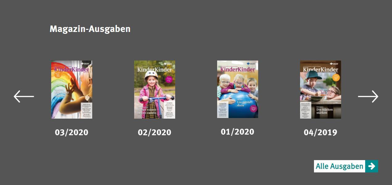 Bildschirmfoto des Sliders für die Ausgaben des Magazins