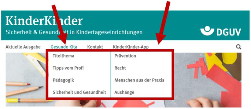 """Bildschirmfoto mit Markierung des Untermenüs von """"Gesunde Kita"""""""
