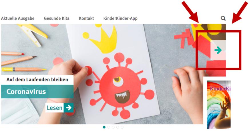 Bildschrimfoto Startseite KinderKinder mit Pfeil zum Blättern in den Themen