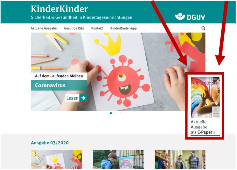 Bildschrimfoto der Startseite mit Markierung der aktuellen Ausgabe